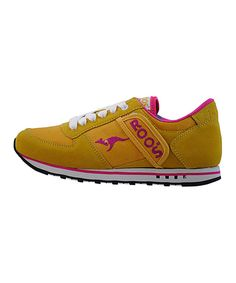 Look at this KangaROOS Yellow & Raspberry Revival Sneaker on #zulily today!
