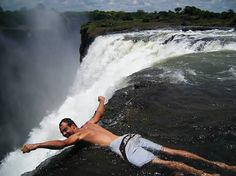 At the top of 360 feet tall Victoria Falls there is a natural rock pool, called Devil's Pool, where the water is relatively calm. From September to December, when the water level is low, you can swim in Devil's Pool.