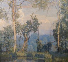 Daniel Garber (American 1880–1958) [Impressionism, Landscape] Hawk's Nest, 1917. Cincinnati Art Museum, Ohio.