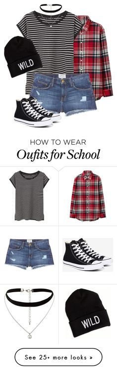 """""""High school"""" by freefriendswillwalk on Polyvore featuring Uniqlo, MANGO, Current/Elliott, Converse, American Eagle Outfitters and New Look"""