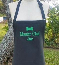 Master Chef Personalized Apron / Black apron with green