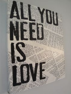 Literary Canvas- All You Need Is Love. $18.50, via Etsy.