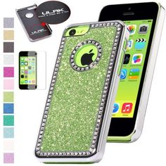 Pandamimi ULAK(TM) Luxury Bling Glitter Crystal Rhinestone Chrome Plastic Hard Case Cover for Apple iPhone 5C with Screen Protector (Light Green) by ULAK, http://www.amazon.com/dp/B00F6N0GLO/ref=cm_sw_r_pi_dp_hw7psb14B8SS3