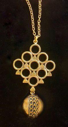 Pentti Sarpaneva for Turun Hopea (FI), vintage modernist bronze pendant, 1970s. #finland   finlandjewelry.com