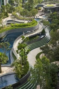 Multi layered gardens and pools. Singapore