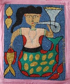 La Sirene Haitian Drapo. Vodou sequin flags or 'drapo' are generally intended to honor and invoke deities in the Voudon religion.  The motifs found on the drapo represent specific deities or liturgical objects used in Vodou ceremonies.