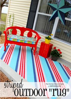 """turned a simple canvas drop cloth into a vibrant outdoor """"rug"""" with just paint!"""