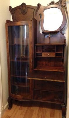 My tiger oak side by side secretary cabinet with curved glass, circa Never seen another just like it. Victorian Furniture, Antique Furniture, Antique Secretary Desks, Silver Table, Curved Glass, Apothecary, Gentleman, Cabinets, Bathrooms