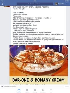 Bar one en Romany Crm Mousse Cold Desserts, Summer Desserts, Easy Desserts, Delicious Desserts, Dessert Recipes, Yummy Food, Guava Desserts, Tart Recipes, Cheesecake Recipes