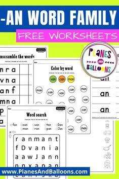 -An word family worksheets for kindergarten - phonics worksheets - word families - free printable reading worksheets. #planesandballoons
