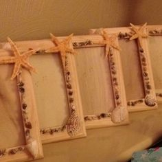 Seashell picture frames I made for favors for my daughters Ariel party. I attached the seashells with hot glue