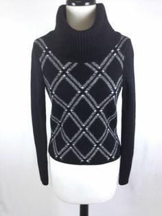 Ann Taylor Sweater Wool Italian Black Turtleneck Argyle Trendy Heavy Womens S | eBay