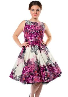 Purple Rose Floral Border, Tea dress by Lady Vintage   #dress #petticoat #vintage #fifties #floral #rose #print #party #festive #wedding #bridesmaid #purple