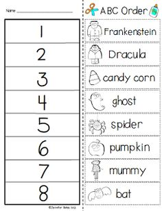 Halloween ABC Order Cut & Paste Activity (free; from Finally in First)