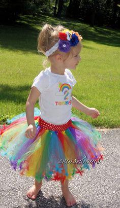Rainbow Tutu Dress-t-shirt, tutu and matching headband