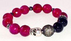 Garnet colored Agate bracelet Black Onyx bracelet Skull