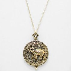 Elephant Necklace With Magnifying Glass Pendant