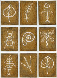 Fossils-ATCs - white crayon on craft paper. or tape and paint over with brown paint. Kids would love the idea of keeping art in a binder!