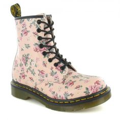 Dr Martens 1460W Womens Vintage Rose Leather 8-Eyelet Boots - Pink Multi