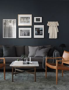 Blue and Black Living Room. Blue and Black Living Room. Blue Accents Fun Chandeliers Black Chandelier to Living Room Carpet, Living Room Grey, Living Room Furniture, Living Room Decor, Brown Furniture, Dark Grey Couches, Gray Sofa, Charcoal Couch, Brown Couch