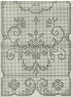 Rectangular tablecloth with flowers Crochet Edging Patterns, Filet Crochet Charts, Weaving Patterns, Crochet Designs, Cross Stitch Patterns, Crochet Curtains, Tapestry Crochet, Tapestry Weaving, Crochet Table Runner