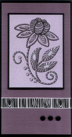 https://flic.kr/p/bQhBdX | Zentangle dahlia card | Zentangle after drawing outline using Dreamweaver Stencils LG743 Stylized dahlia.