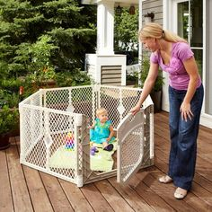 North States Superyard Ultimate, Portable Play Yard, Playard With Door,  Baby Safety Play