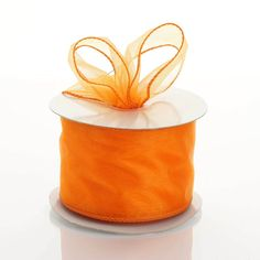 "10 Yards 2.5"" Coral Orange Wired Edge Organza Ribbon"