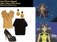 Like Sailor Moon Outfits on Facebook! Requested by: Anonymous ModCloth Red Letter, Yellow Letter top ModCloth Bold Beauty earrings Ben de Lisi black rose corsage court shoes Baublebar Selene pendant necklace Republic Miso peplum skirt