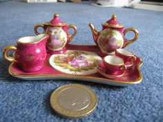 Miniature Limoges France China Red Gold Tea Set on Tray for 2