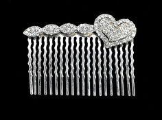 Vintage  Rhinestone Heart Hair Comb by ANTIQUEANDVINTAGE on Etsy