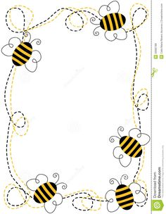 Illustration about Border frame with flying bees. Illustration of copy, anniversary, gardens - 32682788 Spelling Bee, Bee Party, Cute Bee, Bee Crafts, Borders And Frames, Bee Theme, Bees Knees, Scrapbooking, Drawings