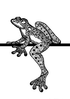 About the art…  ~A rich patchwork of doodles creates a lovely little tree frog hanging out. Doodles, zendoodles, zentangles,
