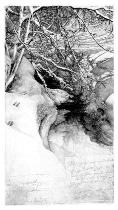Livio Ceschin (italien, né en 1962)  Orme sulla Neve    2003