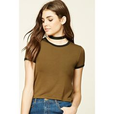 Forever21 Classic Ringer Tee ($5.90) ❤ liked on Polyvore featuring tops, t-shirts, brown top, forever 21 tee, brown t shirt, crew-neck tee and short sleeve tee