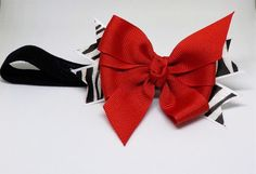 Red and Zebra Print Hair Bow or headband by JensCreationsForBaby
