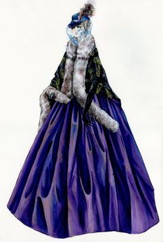 Jacqueline Durran for Anna Karenina Purple Gown With Peacock Feather Cape