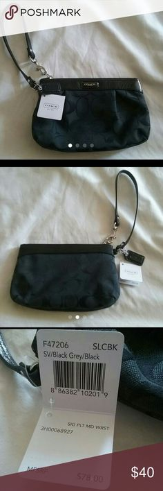 Coach wristlet NWT New with tags medium black coach wristlet. Its 4 inches by 7 inches. Original price $78 Coach Bags Clutches & Wristlets