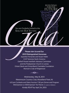 Gala invite for a local women's shelter
