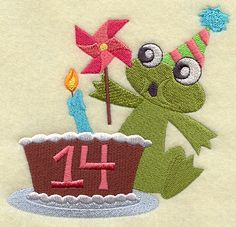 """Hoppy 14th BirthdayProduct ID:F8523 Size:4.96""""(w) x 4.87""""(h) (125.9 x 123.7 mm)Color Changes:12 Stitches:25229Colors Used:11"""