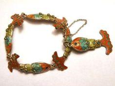 Margot de Taxco Sterling Enamel Fish Bracelet