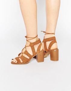 Oasis Lace Up Block Heeled Sandal