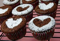 Powdered sugar heart brownie cupcakes