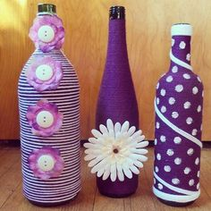 Decorative purple and white bottle set by BrookiesBottles on Etsy
