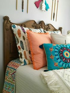 Adventure Awaits! Create a boho chic teen girls bedroom with arrow and feather bedding, wood accents and other bohemian decor. Layer colors and textures with this fresh room decor.