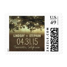 String lights country rustic wedding postage stamp