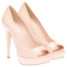 Miu Miu Patent leather open-toe platform pumps. 25mm platform, 125mm heel £370