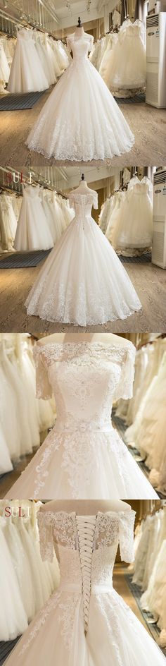 Beautiful Wedding Dresses Off-the-shoulder Ball Gown Lace Ivory Bridal Gown – Wedding Gown Ivory Lace Wedding Dress, Dream Wedding Dresses, Bridal Dresses, Wedding Gowns, Wedding Ceremony, Dress Lace, Vintage Wedding Shoes, Corset Back Wedding Dress, Winter Wedding Shoes