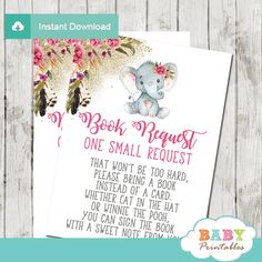 Start growing your little girl's library with these Boho floral elephant book request cards. The elephant book request cards feature an adorable baby girl elephant wearing a floral pink bow against a white backdrop decorated with a beautiful watercolor bohemian flower bouquet in pink accents against a fine sprinkle of faux gold glitter. #babyshower #babyshowerinvitations #babyshowerideas #babyshowerpartyideas