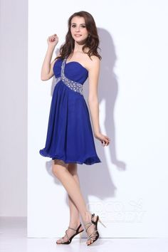 2ddb3721b3 Delicate A Line One Shoulder Short Mini Chiffon Criss-Cross Prom Dress with  Beading COVB13001